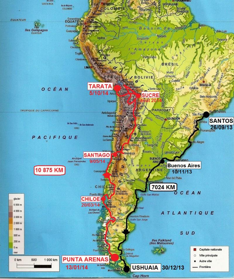 trajet carte Amérique du sud